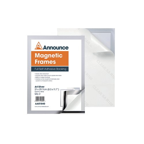 Announce Magnetic Frame A4 Silver (Pack of 2) AA01840