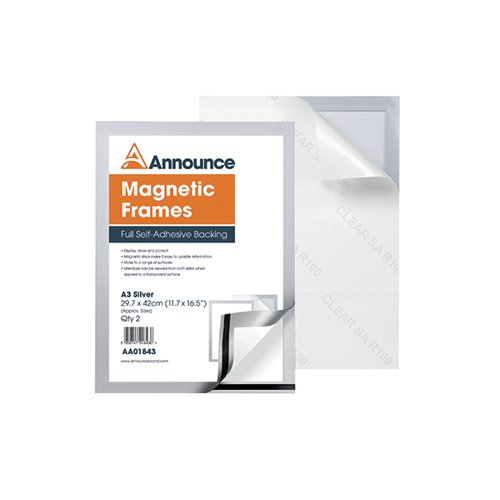Announce Magnetic Frame A3 Silver (Pack of 2) AA01843