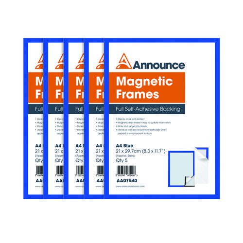 Announce Magnetic Frames A4 Blue (Pack of 5) AA07540