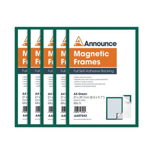 Announce Magnetic Frames A4 Green (Pack of 5) AA07543