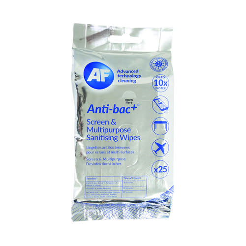 AF Antibacterial Sanitising Screen Wipes (Pack of 25) ABTW025P