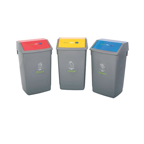 Addis Recycle Bin Kit 3x 54L Bins with Colour Coded Lids Flip Top Ref 505576