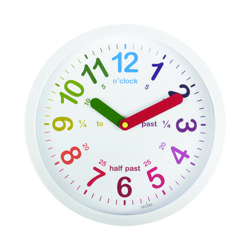Acctim Lulu Time Teaching Wall Clock 260mm White 21882