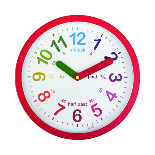Acctim Lulu Time Teaching Wall Clock 260mm Red 21884