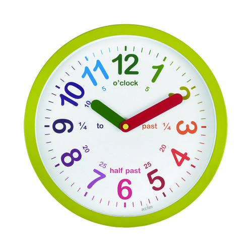 Acctim Lulu Time Teaching Wall Clock 260mm Green 21885