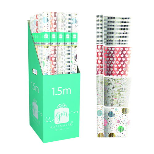 Giftmaker Celebration Mix Gift Wrap (Pack of 42) Y8GM123K