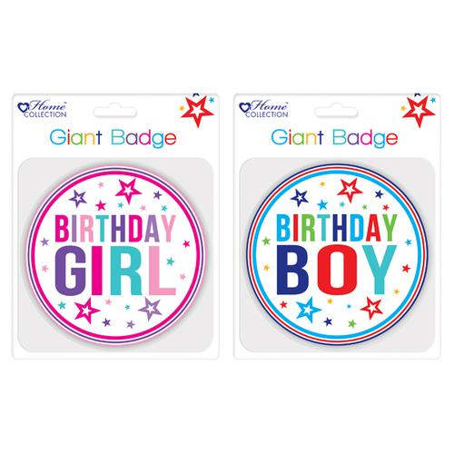Giftmaker Giant Girl and Boy Birthday Badge (Pack of 12) GBAD
