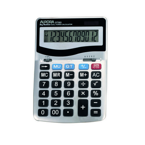Aurora Grey/Black 12-Digit Desk Calculator (Dual power solar powered with battery back up) DT303
