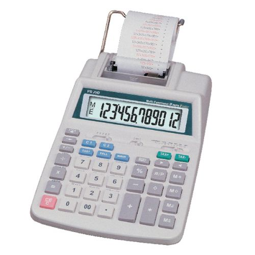 Aurora White 12-Digit Printing Calculator PR710