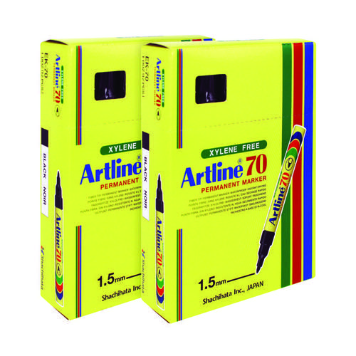 Artline 70 Bullet Tip Permanent Marker Black (Pack of 12) A701 Buy one get one free