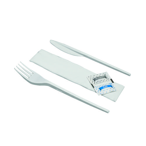 Knife Fork Spoon Napkin Salt Pepper Meal Pack (Pack of 250) MEALPACK5