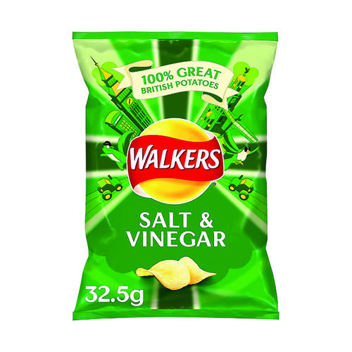 Walkers Salt and Vinegar Crisps 32.5g (Pack of 32) 121795