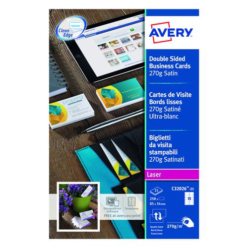 Avery Laser Business Card Dble-Sided Satin Wht (Pack of 250) C32026-25