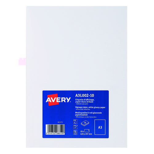 Avery Premium Display Labels A3 (Pack of 10) A3L002-10