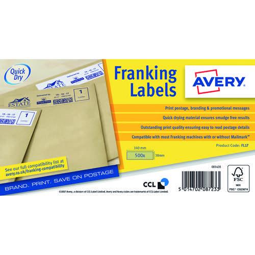 Avery Franking Label 140x38mm 1 Per Sheet Kraft Brn (Pack of 500) FL17