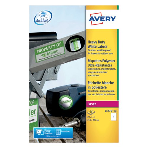 Avery Laser Label Heavy Duty 1 Per Sheet White (Pack of 20) L4775-20