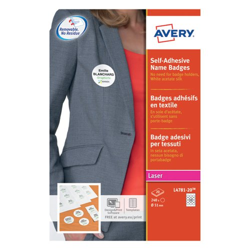 Avery Self-Adhesive Name Badges (Pack of 240) L4781-20