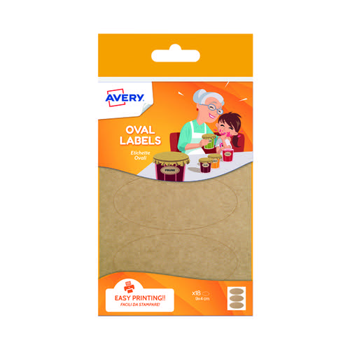 Avery Oval Kraft Labels Brown (Pack of 18) OVKR18.UK