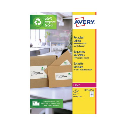 Avery Recycled Address Labels 14 Per Sheet White (Pack of 210) LR7163-15