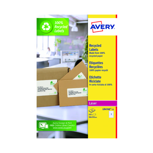 Avery Recycled Ring Binder Labels 7 Per Sheet White (Pack of 105) LR4760-15