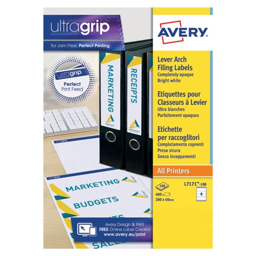 Avery Lever Arch Filing Laser Labels 200x60mm (Pack of 400) L7171-100