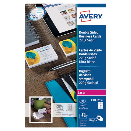 Avery Laser Business Cards Dbl-Sided Satin Wht (Pack of 250) C32016-25