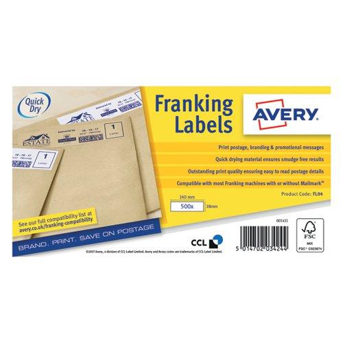 Avery Franking Label 140 x 38mm 1 Per Sheet White (Pack of 1000) FL04