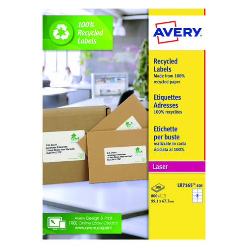 avery recycled laser white parcel label 99 1 x 67 7mm 8 per sheet