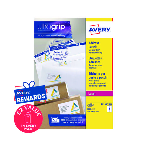 Avery Ultragrip Laser Labels 139x99.1mm White (Pack of 1000) L7169-250