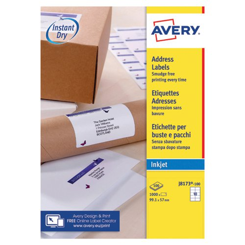 avery quickdry white inkjet labels 99 1 x 57mm 10 per sheet pack of