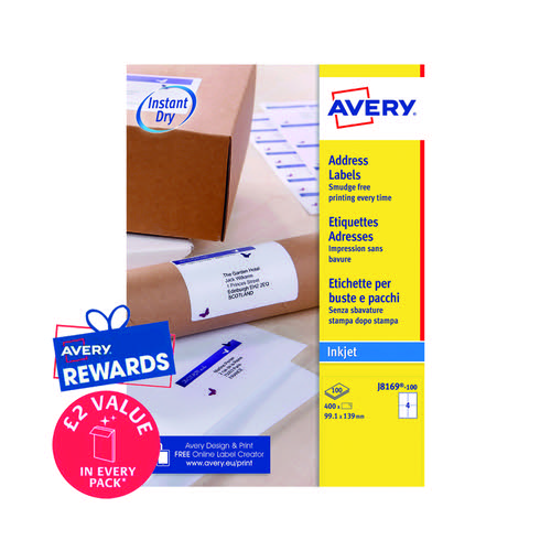 Avery Inkj Labels 139x99.1mm 4 Per Sheet White (Pack of 400) J8169-100