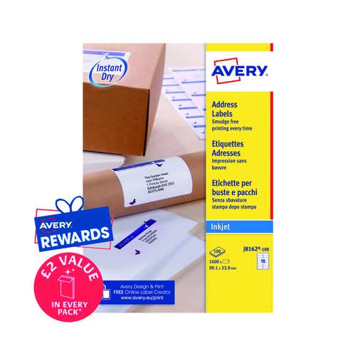 Avery Inkj Label 99.1x33.9mm 16 Per Sheet Wht (Pack of 1600) J8162-100