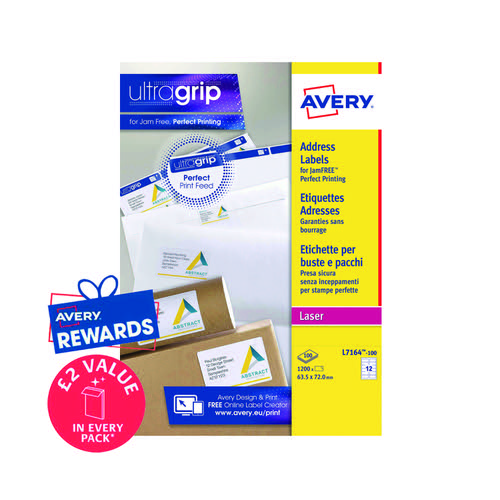 Avery Ultragrip Laser Labels 63.5x72mm White (Pack of 1200) L7164-100