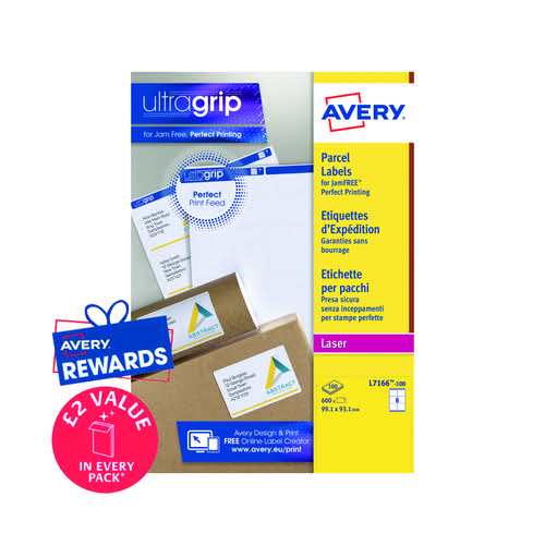 Avery Ultragrip Laser Labels 99.1x93.1mm White (Pack of 600) L7166-100