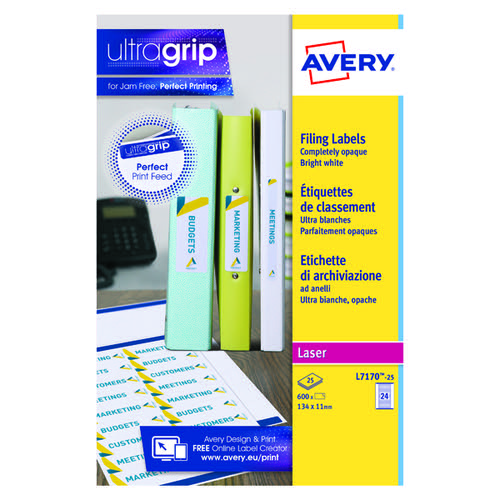 Avery Laser Eurofolio Label 134x11mm White (Pack of 600) L7170-25