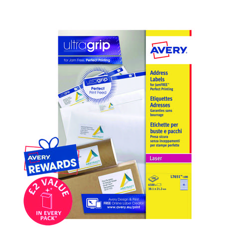 100 x Avery Laser Labels 38.1x21.2 (Mini address labels easy to use) L7651H