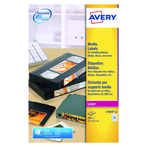 Avery Mini Data Cartridge Label 72x21.1mm White(Pack of 600) L7665-25
