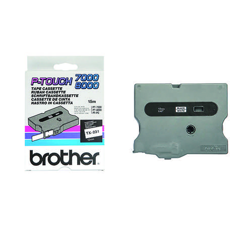 Brother P-Touch 12mm Black on White TX-231 Labelling Tape TX231