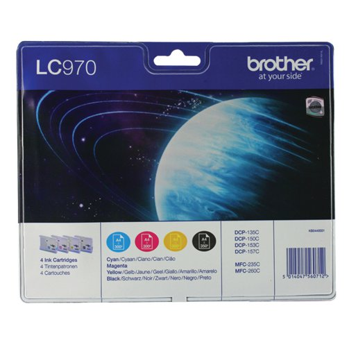 Brother LC-970 Black /Cyan/magenta/Yellow Inkjet Cartridge (Pack of 4) LC970VALBP