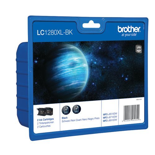 Brother LC-1280XL High Yield Black Inkjet Cartridge (Pack of 2) LC1280XLBKBP2
