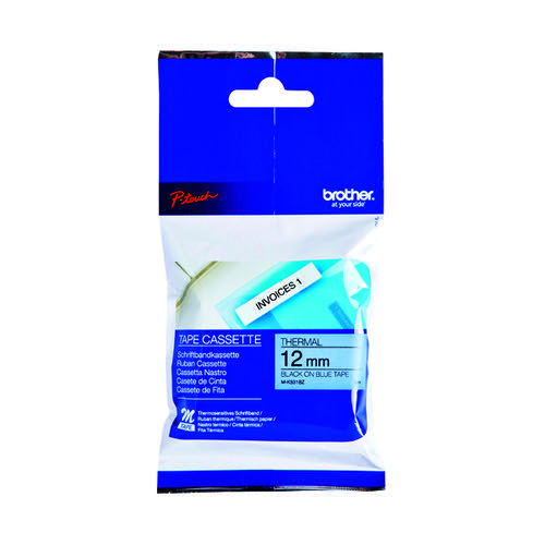 Brother P-Touch Labelling Tape 12mm x 8m Black on Blue Blister MK531BZ