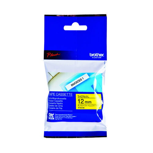 Brother P-Touch Labelling Tape 12mmx8m Black on Yellow Blister MK631BZ