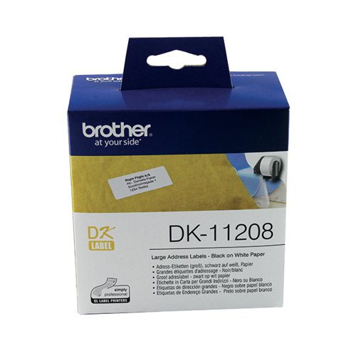 Brother Black on White Paper Large Address Labels (Pack of 400) DK11208