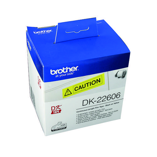 Brother Black on Yellow Continuous Length Film Tape 62mm DK22606