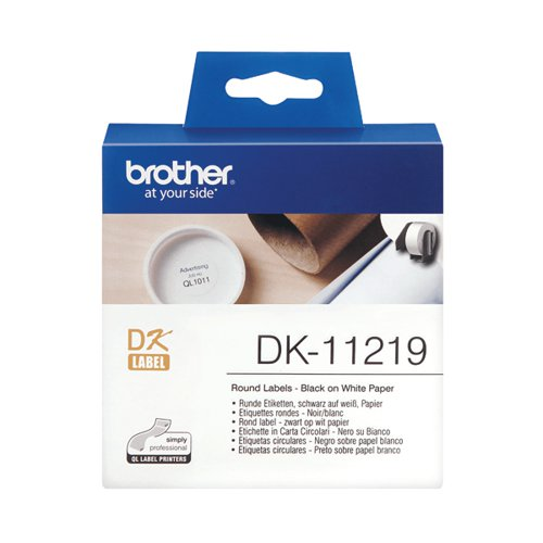 Brother Label Roll 12mm Round 1200 Per Roll Black on White DK11219