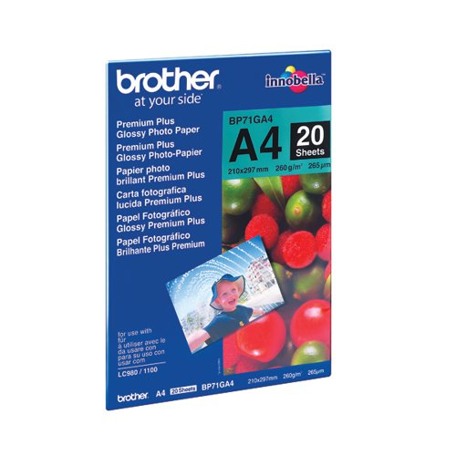 Brother BP71 Photo Paper Gloss A4 (Pack of 20) BP71GA4