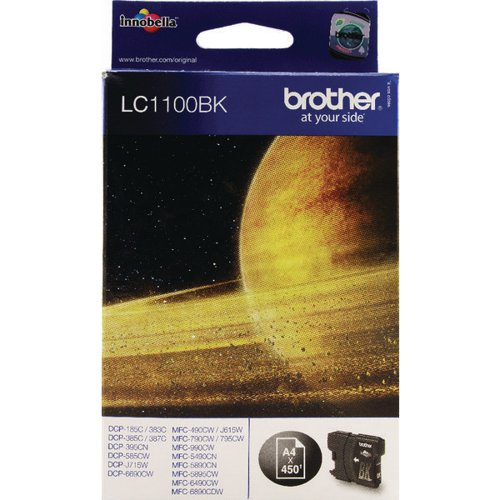 Brother LC1100BK Black Inkjet Cartridge (450 page capacity) LC-1100BK