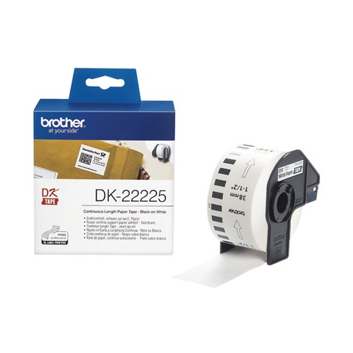 Brother DK22225 Continuous Paper Label W38mm Black on White DK22225