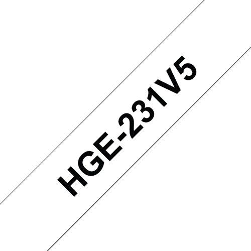 Brother HGE Labelling Tape 12mm x 8m Black on White HGE231V5