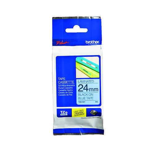 Brother P-Touch Tape 24mm Black on Blue TZE551